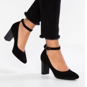 Clarks Black Suede Chryssa Jana Ankle Strap Heels